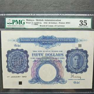 Malaya / British Administration 1st January 1942 $50