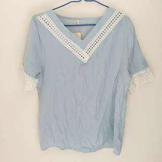 Light Blue Boho Cut Out Top