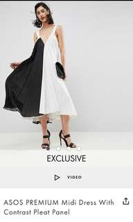 LOOKING FOR: ASOS PREMIUM MIDI DRESS WITH CONTRAST PLEAT PANEL