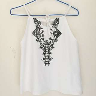 Boho Halter White Top