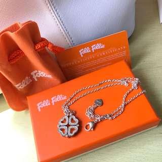 Folli follie 經典心型四葉草兩用純銀頸鍊 heart shaped clover silver necklace