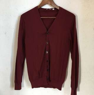 Uniqlo 棗紅色 長袖 羊毛 冷衫