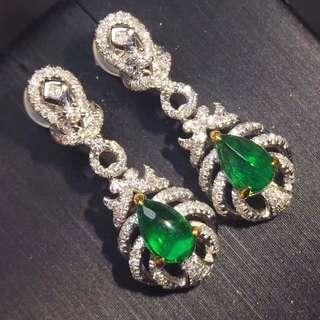 18K白金 天然祖母綠鑽石耳環