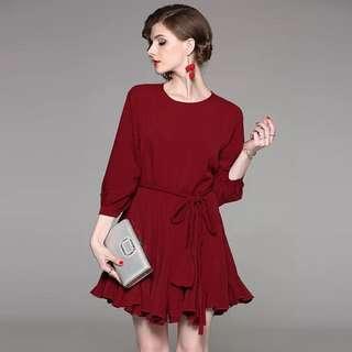 Long sleeve burgundy red drawstring ruffled dress