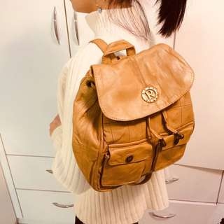 啡色真皮背囊💯Brown real leather backpack