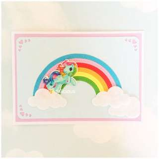 Handmade little Unicorn over the rainbow card