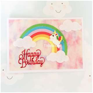 Handmade Unicorn over the Rainbow Birthday Card