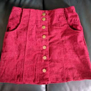 Red button up mini skirt