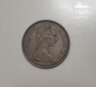 Antique 2 Pence coin Year 1971