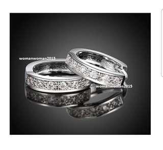White Gold Plated Diamond Earrings (Loop earrings)