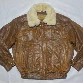 jaket kulit bomber polo