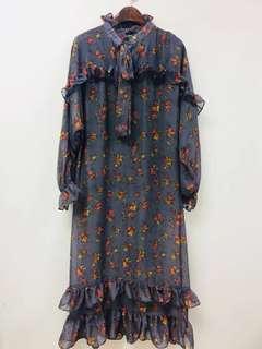 韓國復古碎花雪紡連身裙