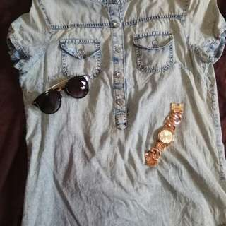 Denim long blouse