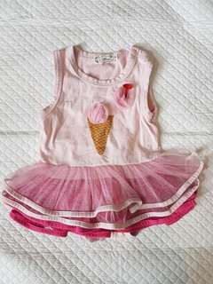 Baby girl romper dress pink icecream