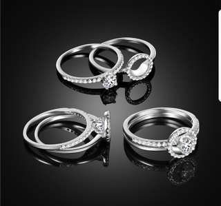 Platinum Plated Diamond Ring (2 pc set)