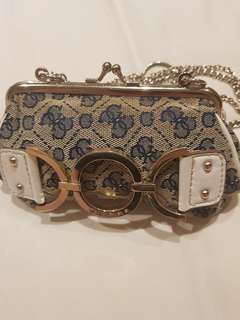 GUESS denim clutch with chains