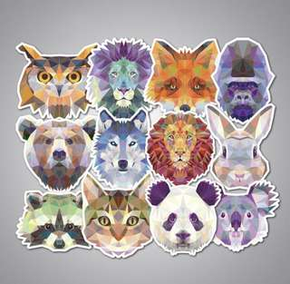 Animal Geometric Laptop Stickers