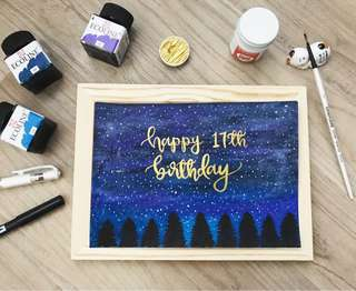 Galaxy birthday card (frame option available)