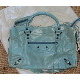 Balenciaga aqua bag, worn only once, in mint condition