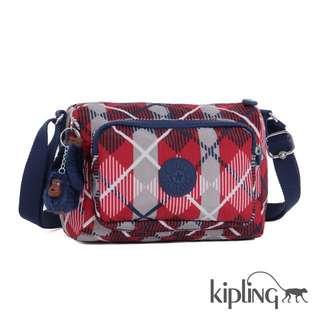 《專櫃熱賣新色》Kipling   紅灰格紋 手提包  單肩包  斜背包 / 好評熱賣