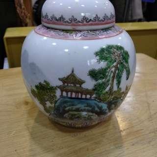 朱壇茶葉罐。。1对