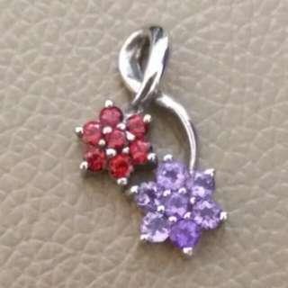 🌸925純銀紫晶石榴石吊墜(P009)