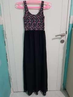 Flower black sheer long dress