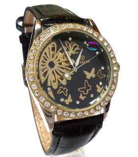 女裝 花卉蝴蝶圖案 仿鑽石 陀飛輪 精緻手錶 Female Black & golden flower and butterfly world tourbillon Exquisite watch with imitated diamond decoration