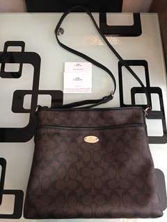 Coach signature leather shoulder bag