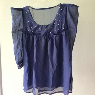 Bangkok sweet top chifon kerja formal hang out navy blue