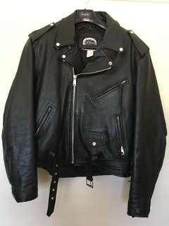 STAGG retro vintage leather motorcycle jacket size 48