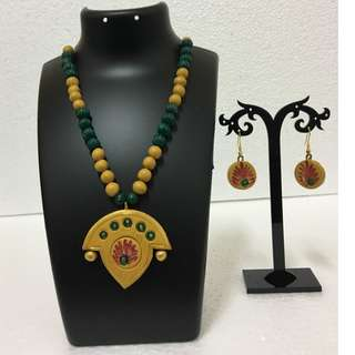 Handmade Designer Terracotta Necklace and Earring set