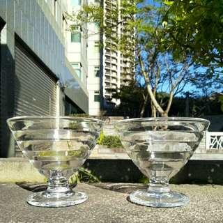 【LoveloVe】法國早期Duralex透明玻璃冰淇淋杯2只