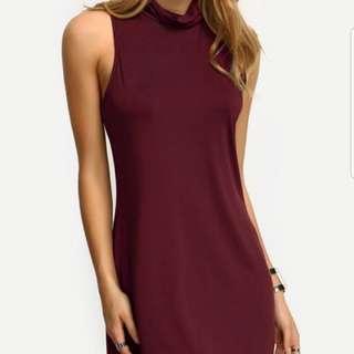 Burgundy High Neck Dress