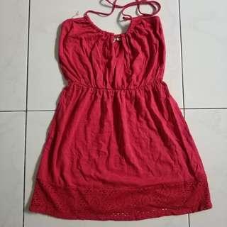 Roxy summer dress red purple pendek beach