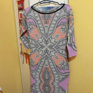 Pre-loved patterned body con dress