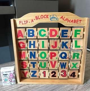 全木製Flip a block Alphabet