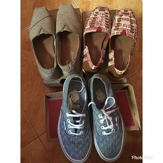 Buy 3 for only ₱4800( Natural red Tiki print and Oxford Tan (Toms) and Denim Chevron blu )( Vans)