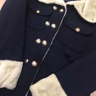 深藍色鋪棉學院風外套