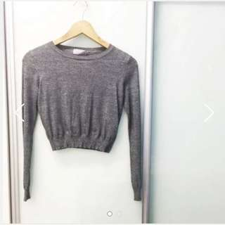 BN TTR Knitted Stonewashed Crop Pullover Long Sleeve Top in Grey