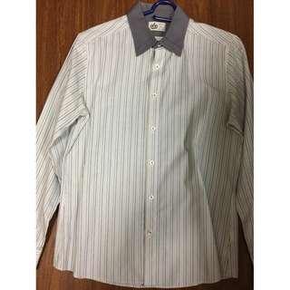 G2000 mens long sleeves polo stripes gray 15.5/32.5 M