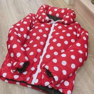 超厚羽絨米妮紅色點點外套