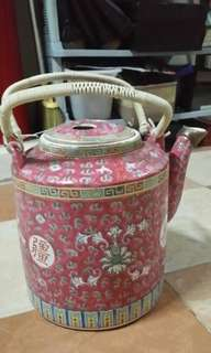 Very very old gd condition procelin kettle.
