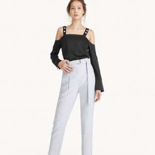 High Waist Belted Tapered Pants