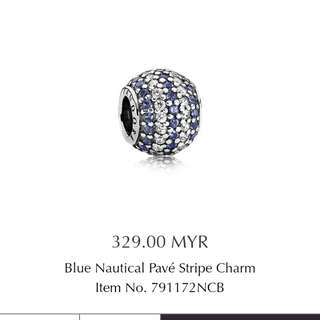 Blue nautical pave' stripe charm