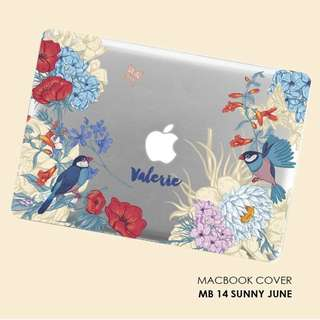 Flower birdie macbook case