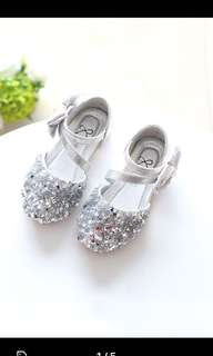 Baby Girl Silver Shoes Size 22