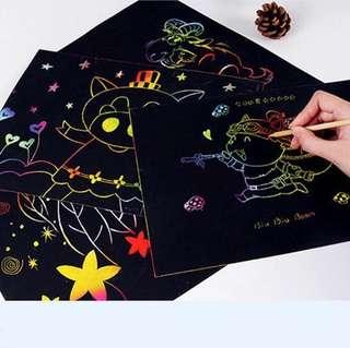 10 pieces per set magic drawing scratch art painting card