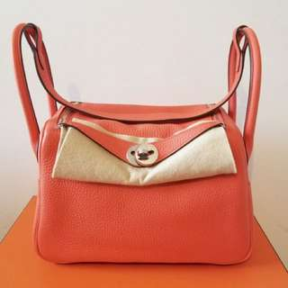 ✨剛3月買入! 🦄Hermes✨🍊Lindy 26 Orange Poppy 8V 波比橙 Clemence A年 $53500