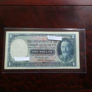 Old Straits Settlement $1 1933